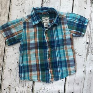 Blue Orange Plaid Button Down Shirt 9-12 Months